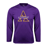 Syntrel Performance Purple Longsleeve Shirt-Alcorn Official Logo