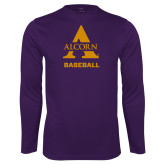 Performance Purple Longsleeve Shirt-Alcorn Baseball
