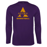 Performance Purple Longsleeve Shirt-Alcorn Basketball