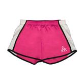 Ladies Fuchsia/White Team Short-Alcorn Official Logo