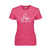 Ladies Fuchsia T Shirt-Alcorn Official Logo
