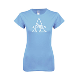 Ladies SoftStyle Junior Fitted Light Blue Tee-Alcorn Official Logo