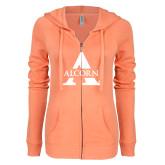 ENZA Ladies Coral Light Weight Fleece Full Zip Hoodie-Alcorn A