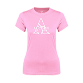 Ladies Performance Light Pink Tee-Alcorn Official Logo