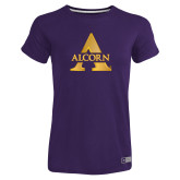 Ladies Russell Purple Essential T Shirt-Alcorn A