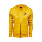 ENZA Ladies Gold Fleece Full Zip Hoodie-Alcorn Official Logo