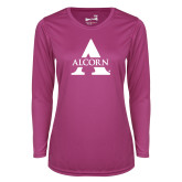 Ladies Syntrel Performance Raspberry Longsleeve Shirt-Alcorn A