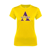 Ladies Syntrel Performance Gold Tee-Alcorn Official Logo