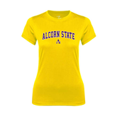 Ladies Syntrel Performance Gold Tee-Arched Alcorn State