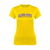 Ladies Syntrel Performance Gold Tee-Arched Alcorn State University