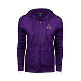 ENZA Ladies Purple Fleece Full Zip Hoodie-Alcorn Official Logo