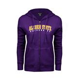 ENZA Ladies Purple Fleece Full Zip Hoodie-Arched Alcorn State University