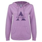 ENZA Ladies Hot Violet V Notch Raw Edge Fleece Hoodie-Alcorn A Glitter Purple Glitter