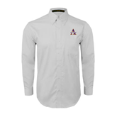 White Twill Button Down Long Sleeve-Alcorn Official Logo
