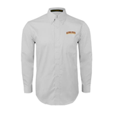 White Twill Button Down Long Sleeve-Arched Alcorn State University