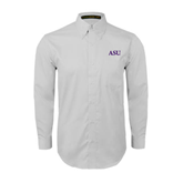 Alcorn White Twill Button Down Long Sleeve-ASU