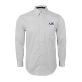 White Twill Button Down Long Sleeve-ASU