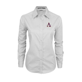 Ladies White Twill Button Down Long Sleeve-Alcorn Official Logo