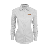 Ladies White Twill Button Down Long Sleeve-Arched Alcorn State University