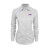 Ladies White Twill Button Down Long Sleeve-ASU