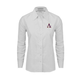Ladies White Oxford Shirt-Alcorn Official Logo