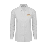 Ladies White Oxford Shirt-Arched Alcorn State University