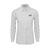 Ladies White Oxford Shirt-ASU