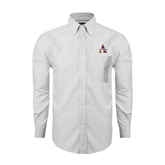 Mens White Oxford Long Sleeve Shirt-Alcorn Official Logo