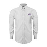 Mens White Oxford Long Sleeve Shirt-ASU
