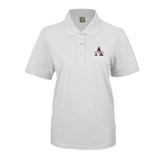 Ladies Easycare White Pique Polo-Alcorn Official Logo