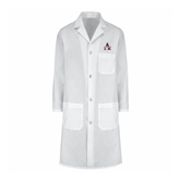 Ladies White Lab Coat-Alcorn Official Logo