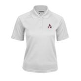 Ladies White Textured Saddle Shoulder Polo-Alcorn Official Logo