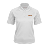 Ladies White Textured Saddle Shoulder Polo-Arched Alcorn State University