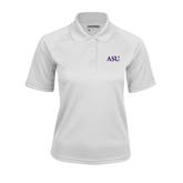 Ladies White Textured Saddle Shoulder Polo-ASU