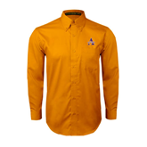 Gold Twill Button Down Long Sleeve-Alcorn Official Logo