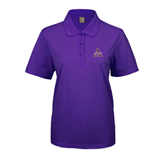 Ladies Easycare Purple Pique Polo-Alcorn Official Logo