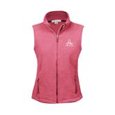 Ladies Fleece Full Zip Raspberry Vest-Alcorn Official Logo
