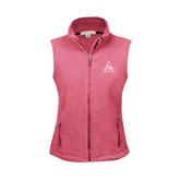 Ladies Fleece Full Zip Raspberry Vest-Alcorn Official Logo