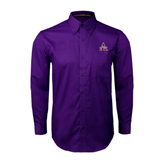 Alcorn Purple Twill Button Down Long Sleeve-Alcorn Official Logo