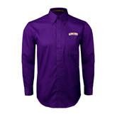 Alcorn Purple Twill Button Down Long Sleeve-Arched Alcorn State University