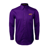 Alcorn Purple Twill Button Down Long Sleeve-ASU