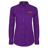 Ladies Purple Twill Button Down Long Sleeve-Alcorn State University