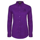 Ladies Purple Twill Button Down Long Sleeve-Alcorn A