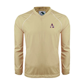 Colorblock V Neck Vegas Gold/White Raglan Windshirt-Alcorn Official Logo