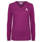 Ladies Deep Berry V Neck Sweater-Alcorn A