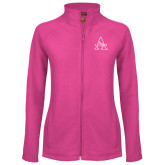 Ladies Fleece Full Zip Raspberry Jacket-Alcorn Official Logo