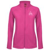 Ladies Fleece Full Zip Raspberry Jacket-Alcorn Official Logo