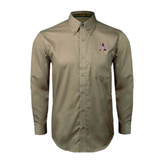 Khaki Twill Button Down Long Sleeve-Alcorn Official Logo