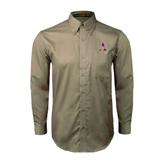 Khaki Twill Button Down Long Sleeve-Alcorn Official Logo
