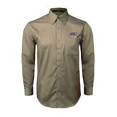 Khaki Twill Button Down Long Sleeve-ASU
